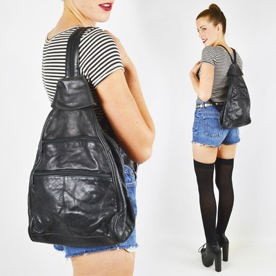 vtg 80s 90s grunge LEATHER FESTIVAL BACKPACK ameribag sling shoulder bag purse $38.00