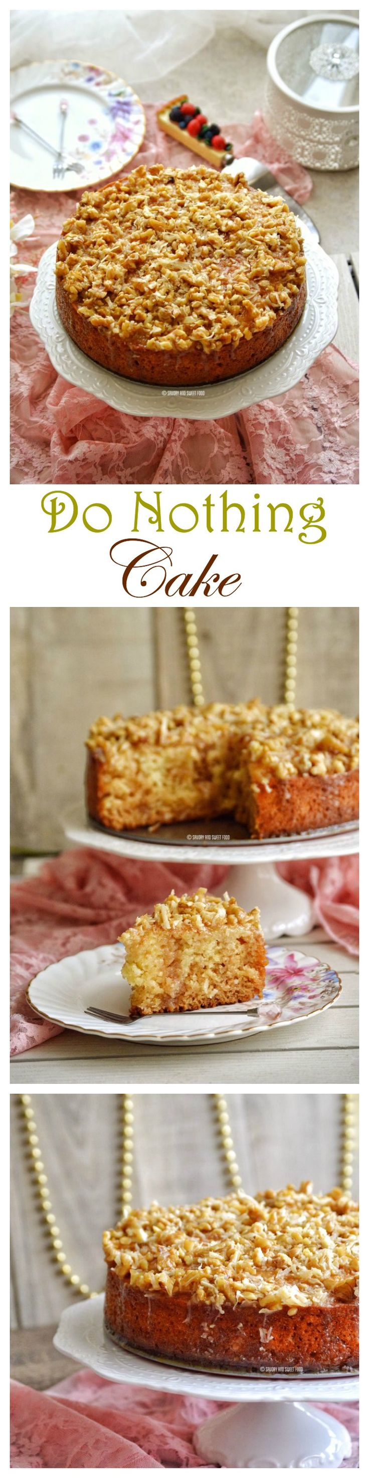 This really is a do nothing cake because this is too easy. All you have to do is mix up all the ingredients with a spoon and bake. Then pour a rich buttery sauce over the hot cake. No beating, or sifting needed and it tastes and looks so good as if you have spent hours making this cake.