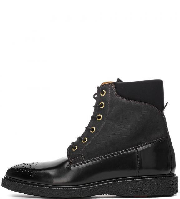 Черные ботинки из натуральной кожи и текстиля 13541386.g00 втачная стелька, ботинки завязываются на шнурки, высота танкетки - 3 см, высота голенища - 14 см, обхват голенища - 27 см для размера 36 (35), купить в интернет-магазине. Цена: 9745