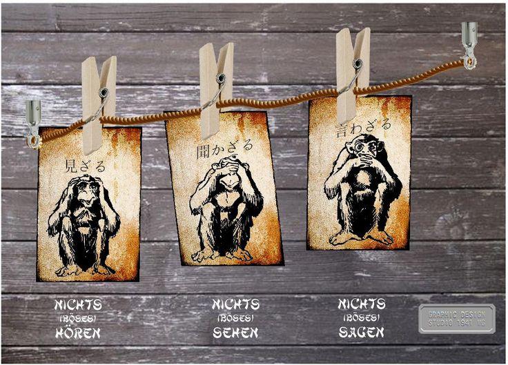 Im klassischen Japanisch wird die grammatische Form ざる (zaru) (Verneinung einer Tätigkeit) ähnlich ausgesprochen wie Affe (猿, saru). Wohl auch in diesem Zusammenhang entstand der Glaube von den drei Affen Mizaru (見ざる), Kikazaru (聞かざる) und Iwazaru (言わざる), die am Kōshin-machi den Göttern über die Menschen berichten sollen. Aufgrund eines Abwehrzaubers sehen, hören und sprechen sie aber nichts Böses.