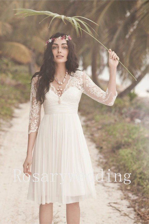 V neck sleeves sexy back lace chiffon knee by Rosaryweddingdress, $129.00