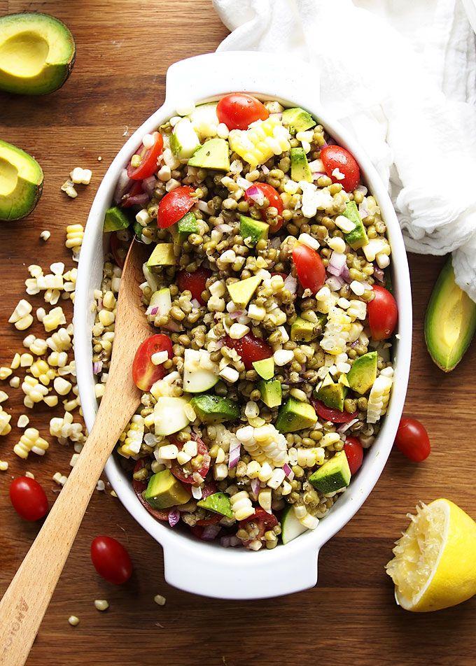 Summer Veggie Mung Bean Salad   http://thekitchenpaper.com/summer-veggie-mung-bean-salad/