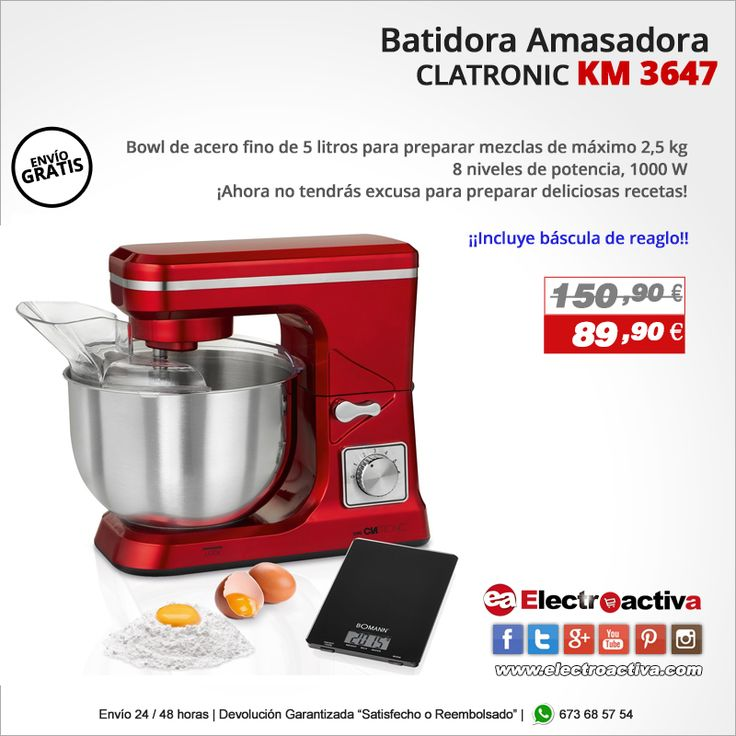 ¡Ahora no tendrás excusa para preparar deliciosas recetas! Batidora Amasadora CLATRONIC KM 3647  https://www.electroactiva.com/clatronic-km-3647-batidora-amasadora-barata-rojo-reposteria.html #Elmejorprecio #Batidora #Amasadora #Reposteria #Chollo #Electrodomestico #PymesUnidas