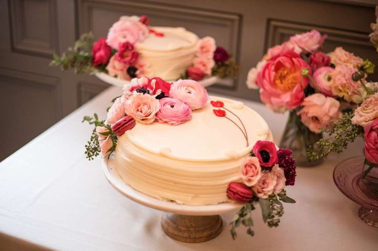 Lovely cake at a garden tea party bridal shower party! See more party planning ideas at CatchMyParty.com!