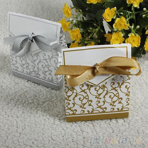 Hot 50pcs Creative Beauty Ribbon Wedding Favours Party Gift Candy Paper Box BE7A