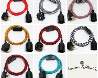 2m tissu Flex Cable brancher en pendentif lampe mis ES E27 Fitting Vintage ampoule avec support d'ampoule, prise UK & inline switch