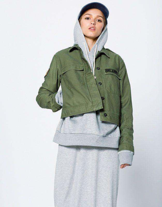 Military patch overshirt - Jackets - Clothing - Woman - PULL&BEAR Ukraine