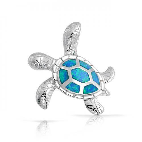 Bling Jewelry Blue Opal Inlay Hawaiian Nautical Sea Turtle Pendant 925 Silver
