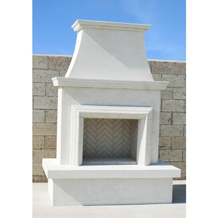 Outdoor stucco fireplace