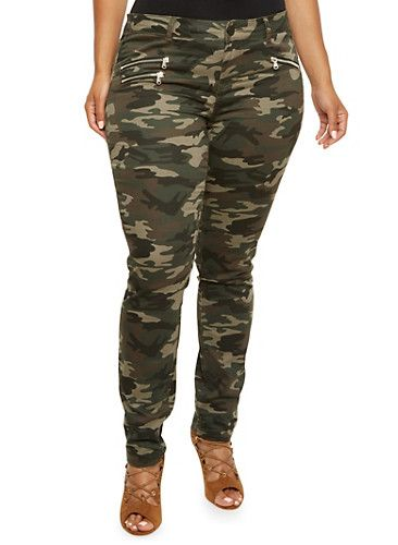 Plus Size Almost Famous Camo Skinny Pants with Zipper Accents,CAMOUFLAGE