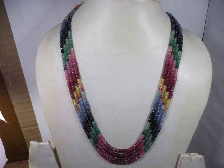 TOP QUALITY EMERALD RUBY SAPPHIRE 4 STRANDS MULTY NECKLACE 247.50Cts #GemstoneTopper #StrandString