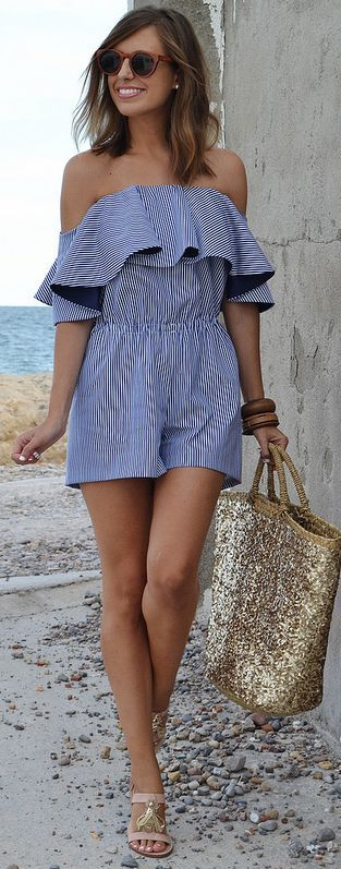 Striped Ruffle Strapless Romper #Be Iconic