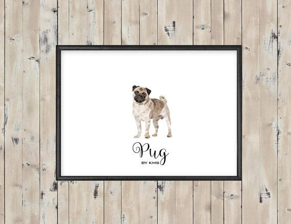 PUG CARLINO printable. Pug dog minimal by KeepMakingSmiles on Etsy