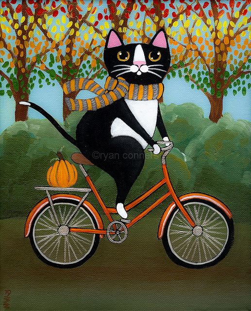 Black Kitty Cat brings you a pumpkin for Halloween Ryan Conners' Cat Folk Art: Search results for Cat