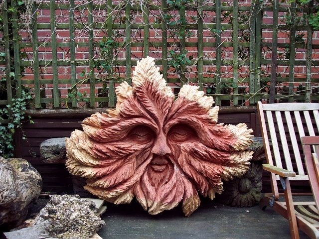 Redwood greenman chainsaw carving pinterest