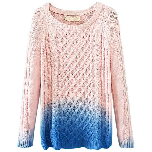 Pink Dip Dye Cable Knit Sweater ($31) ❤ liked on Polyvore featuring tops, sweaters, long sweaters, long tops, long pink sweater, chunky cable knit sweater and dip dyed sweater
