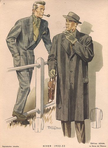 Vintage Men's Fashion, 1952 coats fedora pipe gloves