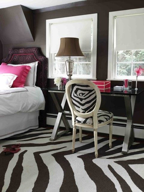 Black Shaped Zebra Bedroom Completed Big Night Lamp on Glass Table
