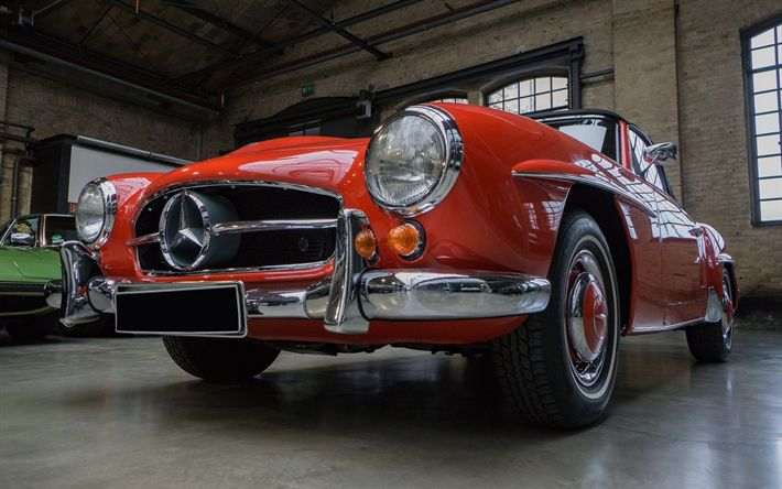 Download wallpapers Mercedes-Benz 190 SL, retro cars, old car, sportscars, W 121 B II, Mercedes