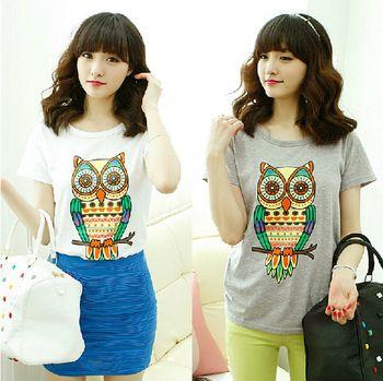 nova 2014 verão algodão plus size mulheres t- camisa impressão coruja casual camisa marca cute tops 8.457
