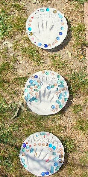 a simple garden block/stepping stone- kid craft-able or adult