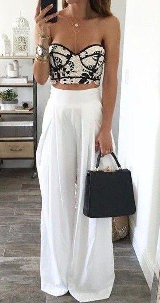 pants white pants palazzo pants black top black crop top top crop tops bustier taille haute pantalon plage blanc white summer outfit corset top large elegant classy corset summer outfits