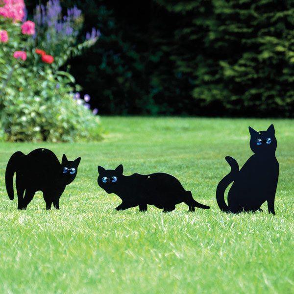 Metal Garden Ornament Cat Scarers Set of 3 Outdoor Flowerbeds Wall Decoration