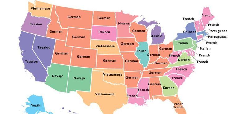 Okay, Englisch und Spanisch sind mit riesigem Abstand die meistgesprochenen Sprachen in den USA. Aber an dritter Stelle kommt in vielen, vielen Staaten im Norden und Osten sowie im Landesinnern schon: