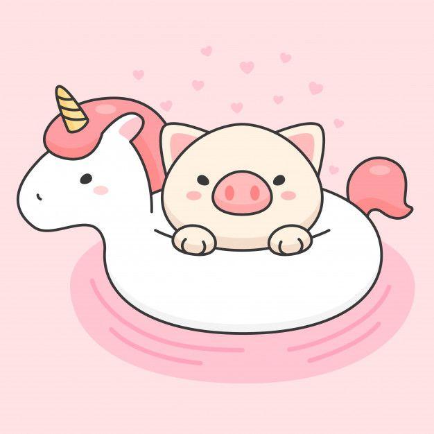 Cute Pig In An Unicorn Life Ring Unicorn Wallpaper Cute Cute Pigs Cute Doodles