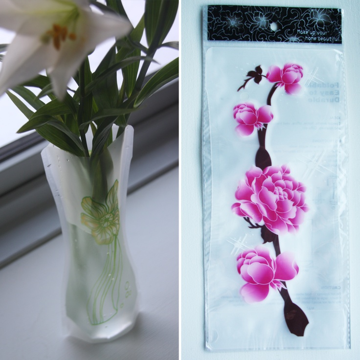 Foldbar vase, Gren med pink blomster, 20,-