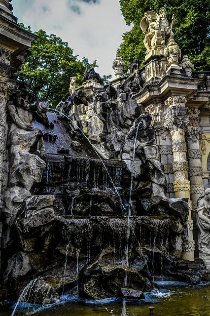 Nymphenbad - The Baroque fountains created, The Zwinger, Dresden, Germany