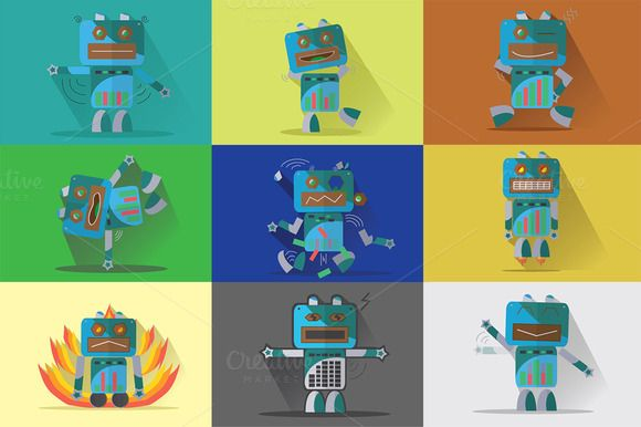 Check out Robot Characters - Bundle 9 in 1 |#2 by Graphiqa on Creative Market