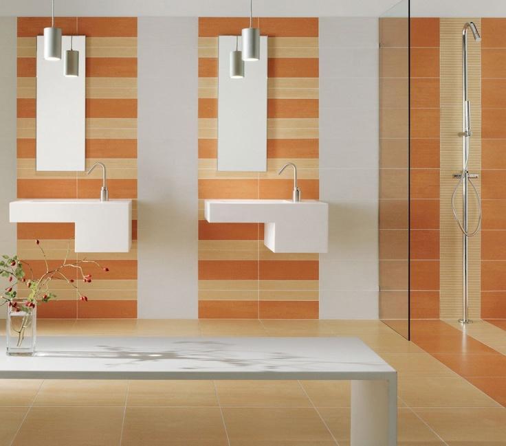 Bathroom    Cute Master Bathroom With Orange Stripes Wall Theme Custom  Shape Wall Mount Sink Tall Bathmirror Modern Table Design With Vase On It  Simple  78 best Bathroom images on Pinterest   Bathroom ideas  Room and  . Orange Bathroom Tile Ideas. Home Design Ideas