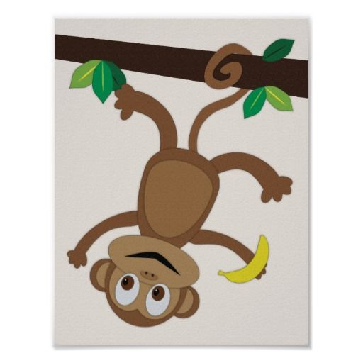 Monkey Rainforest Poster - This poster would look great in any baby or child's room. Goes great with a rain forest nursery theme!