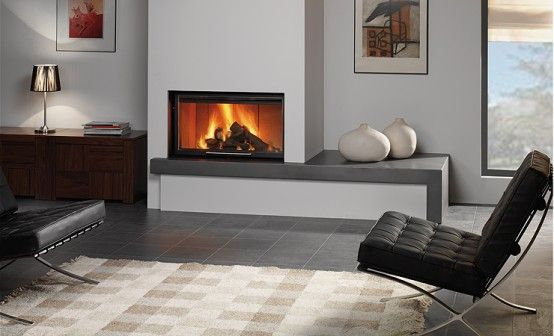 modern fireplace with clean lines