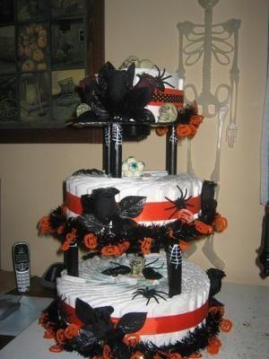 halloween themed baby shower cake for Amanda having an October baby! So cute!!!