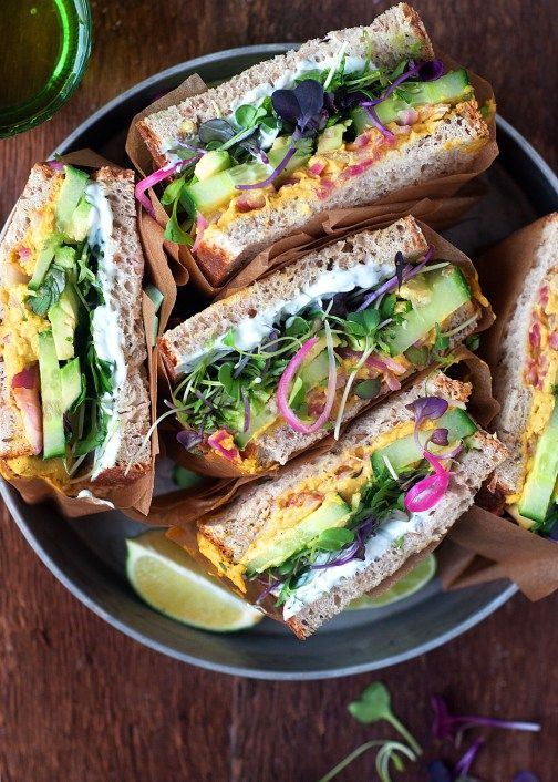 Curry Hummus Detox Sandwiches with herbed Greek yogurt, avocado, cucumber, sprouts and pickled red onions