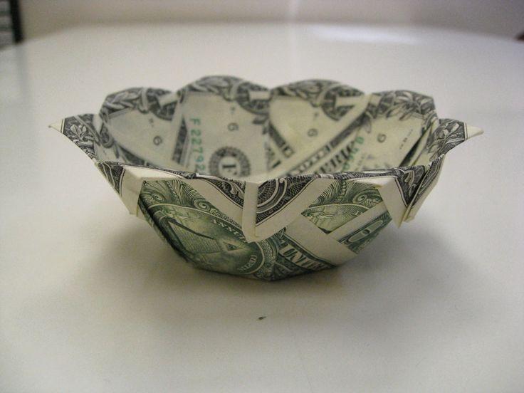 dollar money origami bowl origami med pengesedler
