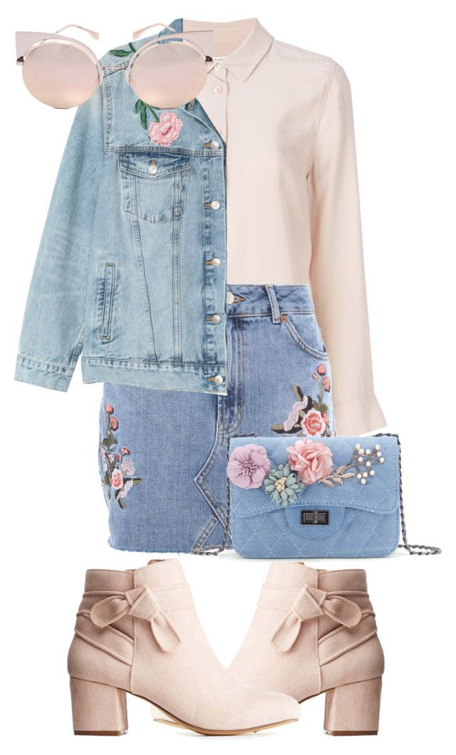 denim pink by slytheriner on Polyvore featuring Equipment, H&M, Topshop, Charlotte Russe, Fendi, denimskirt and Belleza