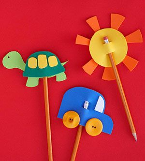 Foam Pencil Toppers    Practicing the alphabet or writing thank you cards is way more fun for your child when her pencil is topped with a fun foam craft!    Make It: Layer crafts foam shapes to create simple designs, such as a sun, turtle, and car. To secure a pencil through each, cut two slits in the center as shown. Add to the top of a pencil and get writing!