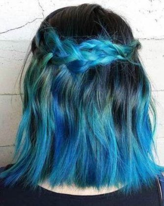 Blunt Blue Ombre hairstyles