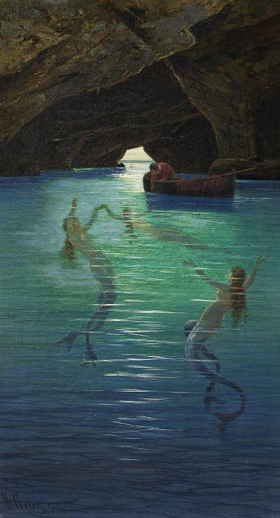 Hermann Corrodi (1844 - 1905) - Fisherman and Mermaid in ...