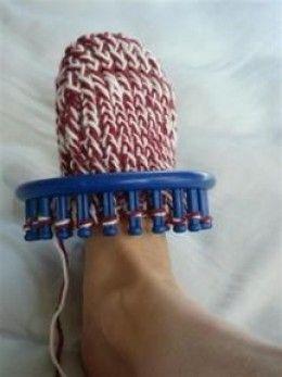 Knifty Knitter sock in progress by Rowena at the Rostitchery blog. Free knifty knitter sock pattern.