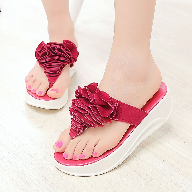 2017 New Casual Women's Sandals Woman Flip Flops High-heeled Flip-flops and Beach Shoes High Quality Big Flower Women Slippers