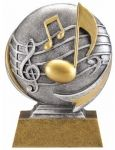 <p>The 3D Motion resin music trophy has a brushed gold laser engraved plate with black letters. This music award is an inexpensive trophy with great character.</p> This is a great choice for an economy trophy. Choose a cheap trophy for your team or tournament trophy event. FREE Shipping is available on orders cheap trophies over $100. FREE Engraving.