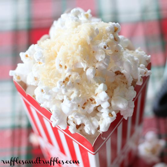 Popcorn with truffle oil and asiago cheese for #SundaySupper | Ruffles & Truffles