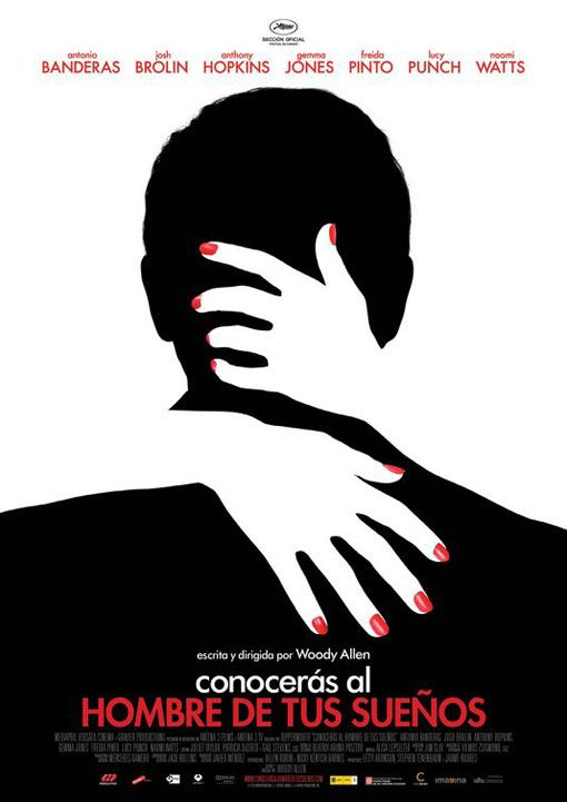 EMMA TUT5: This movie poster shows constrained visual language in the image that has been used in the middle. Two images are created by using figure and ground. You see a man and also hands of a female. These image of the man is just a very basic silhouette of the back of his head. The hands are white and overlap the black figure of the man, which cut out on part of the figure. This makes you notice one or the other element in this image.