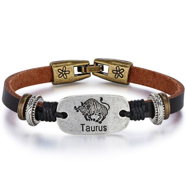 $3.75--TAURUS--Fate Love 2017 New 12 Constellations Bracelet Male Vintage Punk Leather Zodiac Horoscope Signs Bracelet Men Women Jewelry FL1188-in Charm Bracelets from Jewelry & Accessories on Aliexpress.com | Alibaba Group