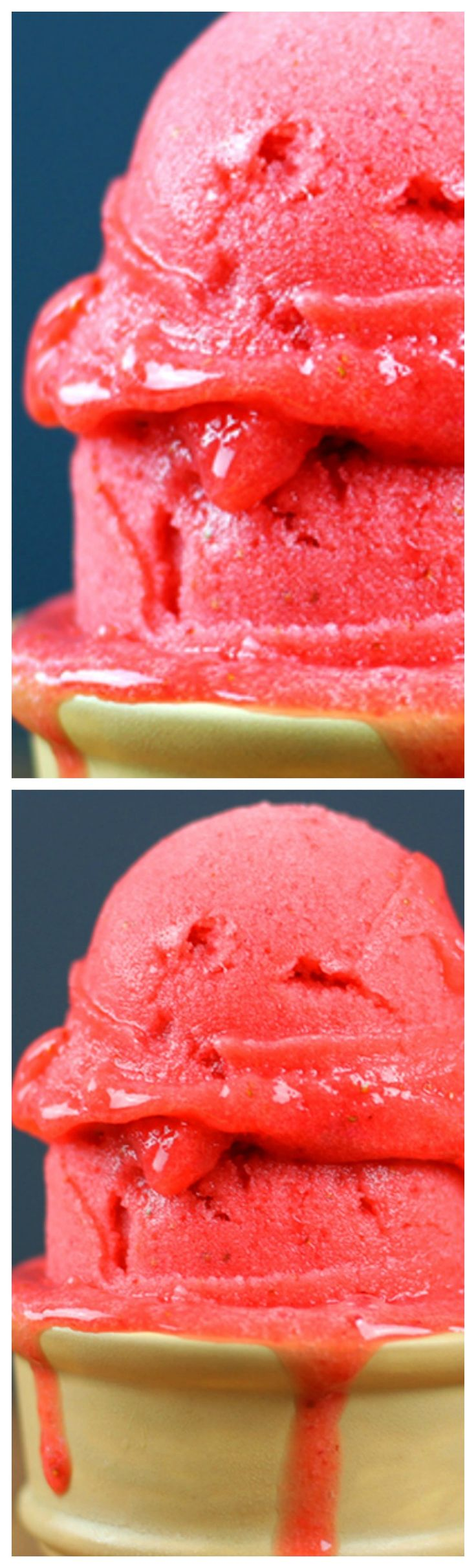 3 Ingredient Strawberry Sorbet ~ The most perfect, simple, 3 ingredient strawberry sorbet. Sweet, refreshing, tart and creamy, this recipe will not disappoint you and will keep you from ever buying it again.