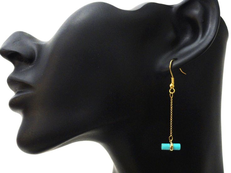 Geometric Earrings, Circle Cylinder Stone Drop, Circle Dangle Earrings, Chain Earrings, Gold Earrings, Turquoise Earrings, EMAN46 by PrettyMaNa on Etsy